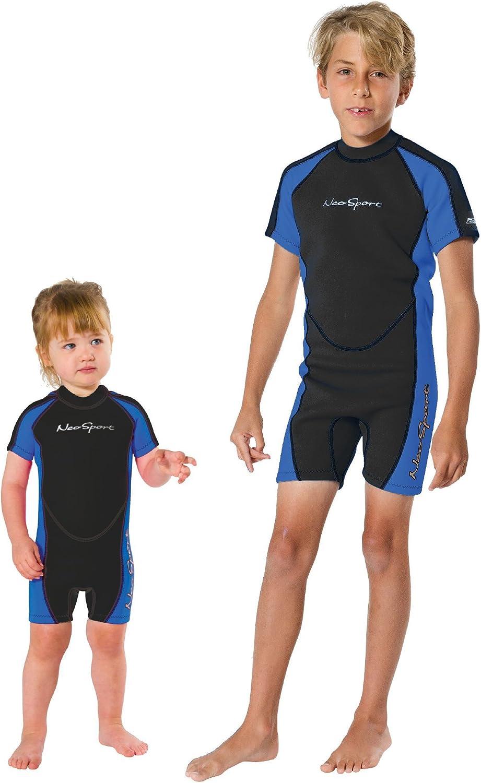 NeoSport Children's 2mm Shorty Back Zip Wetsuit, 2 Blue/Black