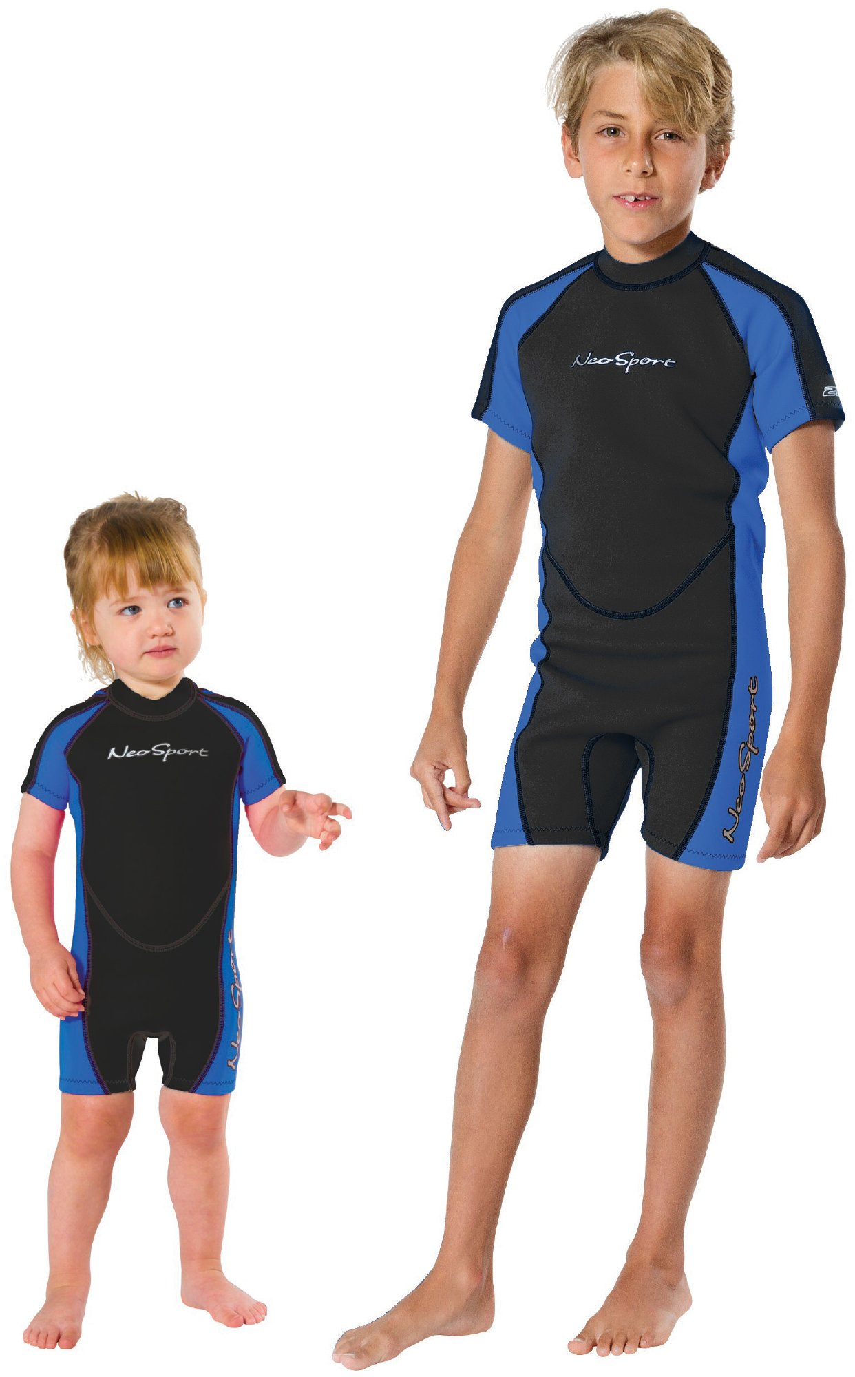 Neosport Children's 2mm Shorty Back Zip Wetsuit, 4 Blue/Black by Neo-Sport