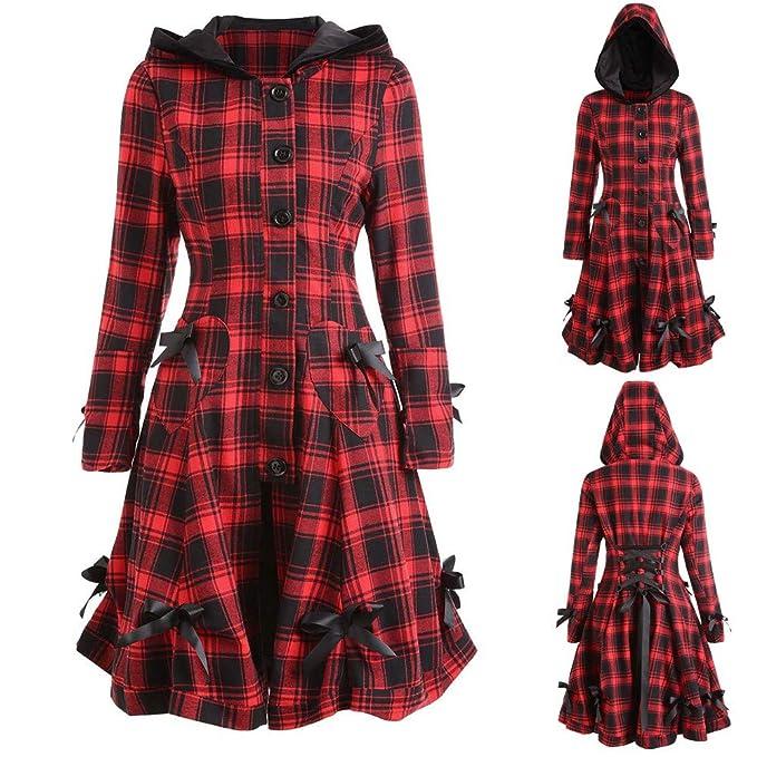 5c2ce4948c9 Amazon.com  Women Victorian Gothic Kstare Steampunk Long Jacket Retro Lace  Up Hooded Plaid Coat Tailcoat Winter Warm Outwear Blazer Tops  Clothing