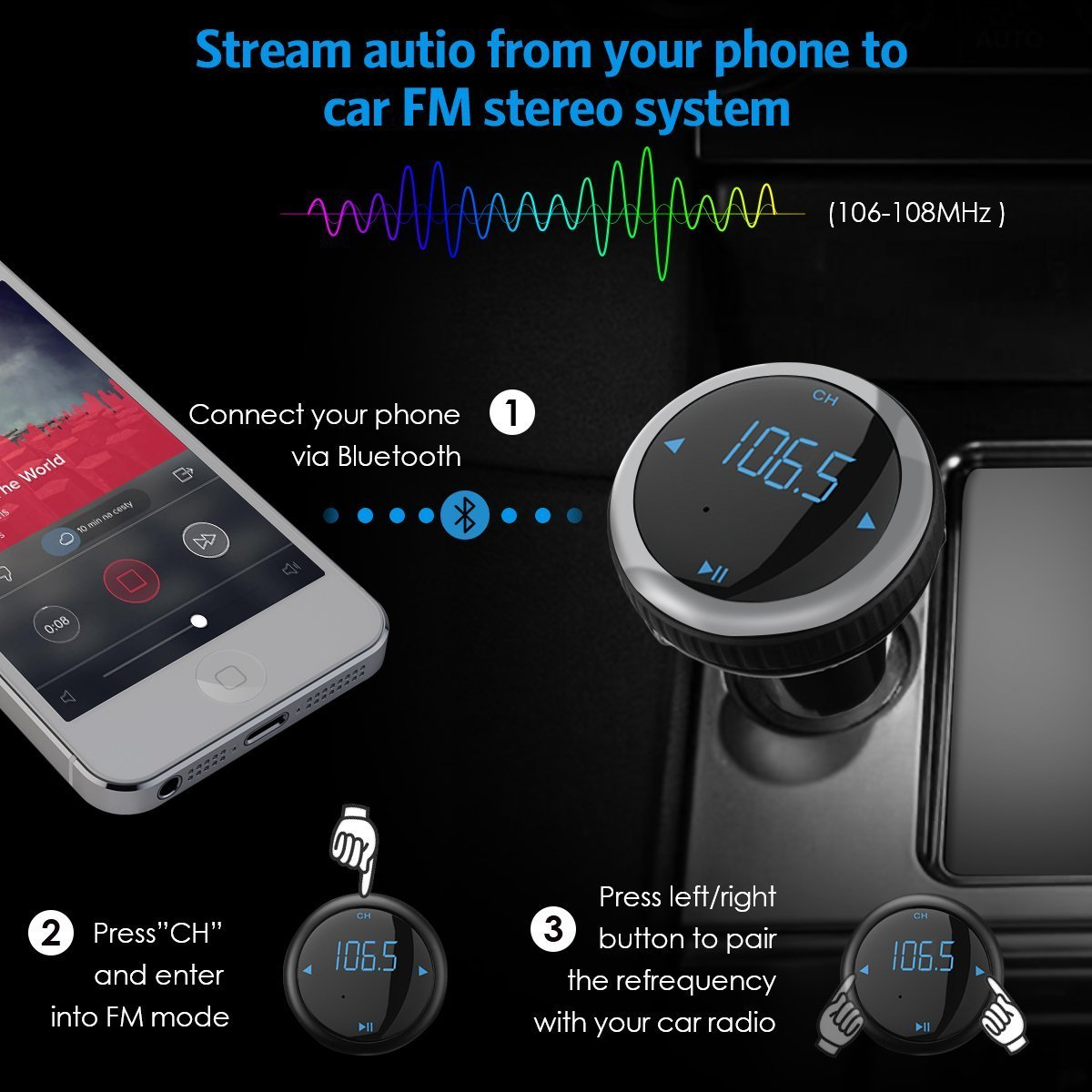 Wireless Bluetooth Car Kit FM Transmitter with Smart Car Locator, Handsfree Call, Car MP3 Player with Dual USB Charger Radio Adapter - Silver by Aphaca (Image #3)