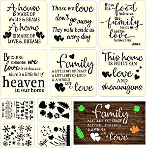Home Stencils for Painting on Wood & Canvas, Inspirational Word Stencils, Reusable Stencils for Wall & Home Decor & DIY Projects