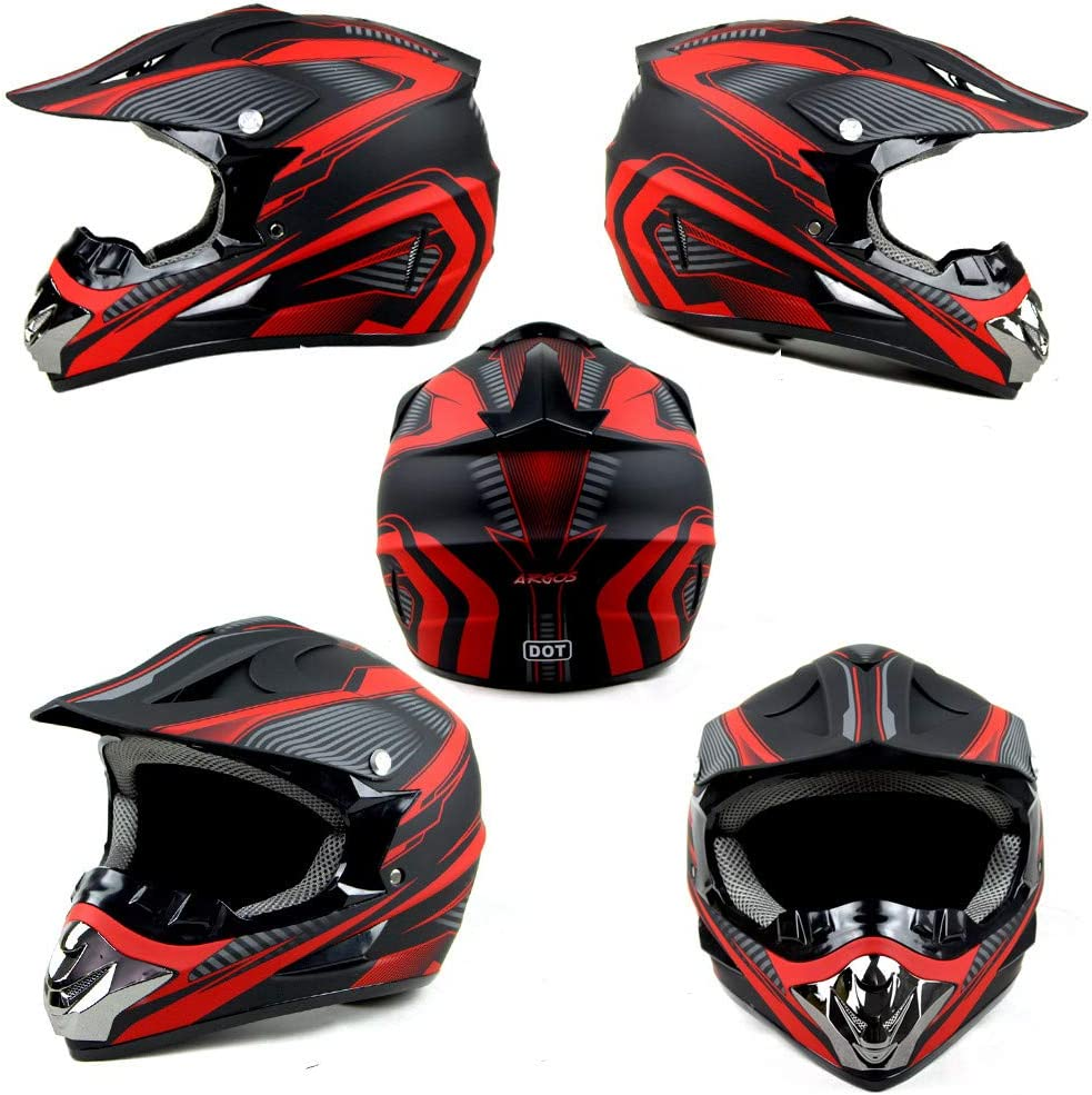 Erwachsene Off-Road Motorcycle Crosshelm Set Rot wei/ß Downhill Enduro-Helm ATV MTB BMX-Helm Quad Dirt Bike Mit Brille Handschuhe Maske CHUDAN Motocross-Helm f/ür M/änner Damen DOT Zertifiziert