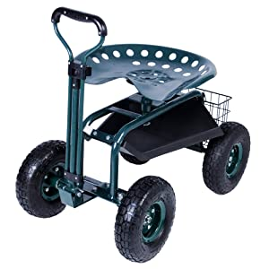 KARMAS PRODUCT Steerable Garden Stool Cart with Tool Tray and Storage Basket Rolling Work Seat Heavy Duty Scooter with Extendable Steer Handle Green