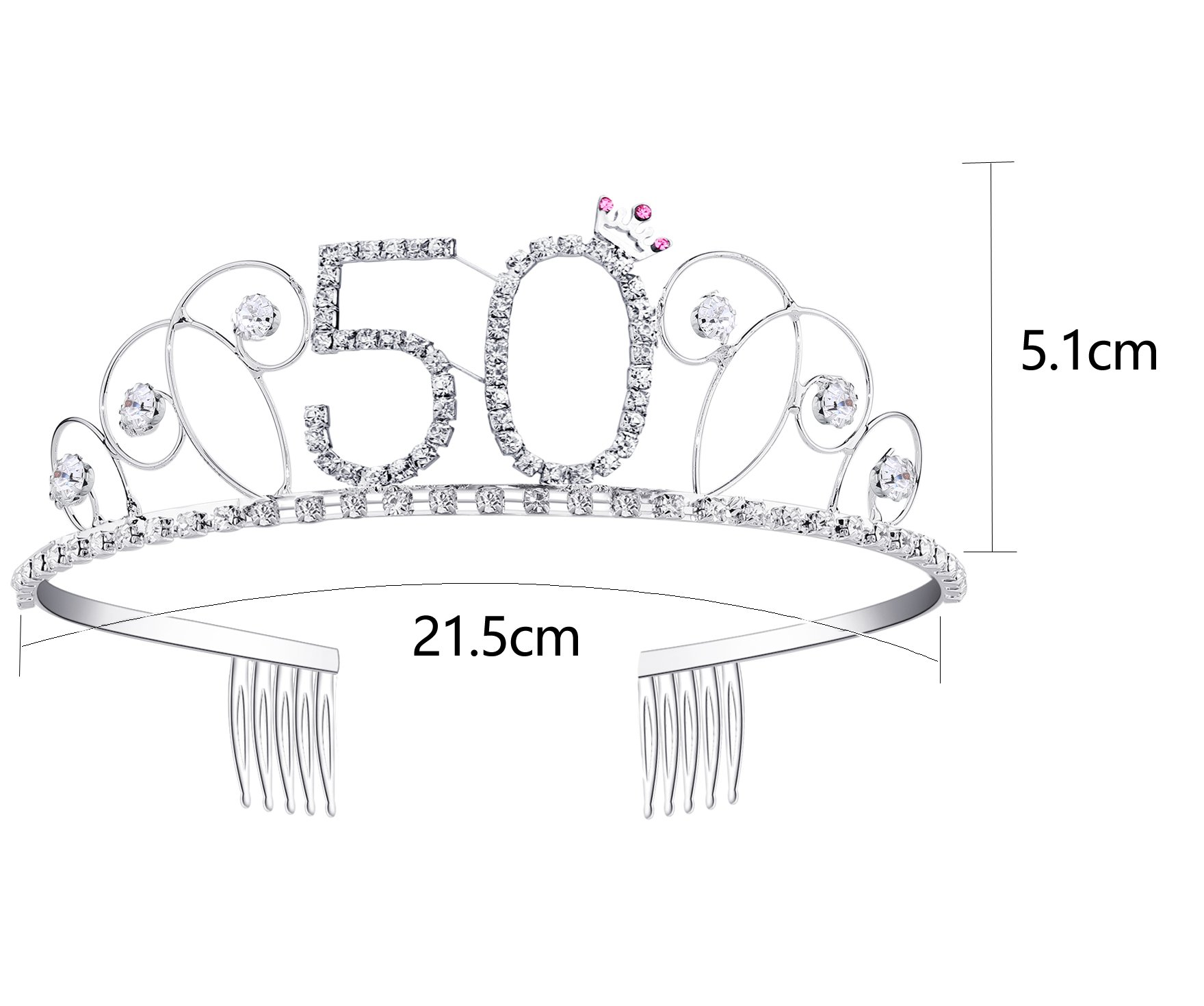 BABEYOND Crystal Tiara Birthday Crown Princess Crown Hair Accessories Silver 40