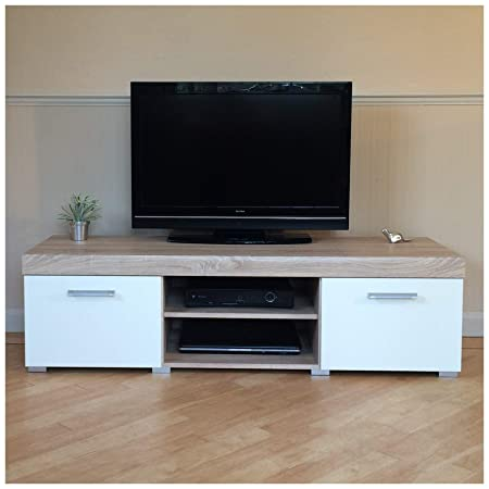 Sydney White Sonoma Oak Large 2 Door Tv Cabinet 140cm Unit Amazon