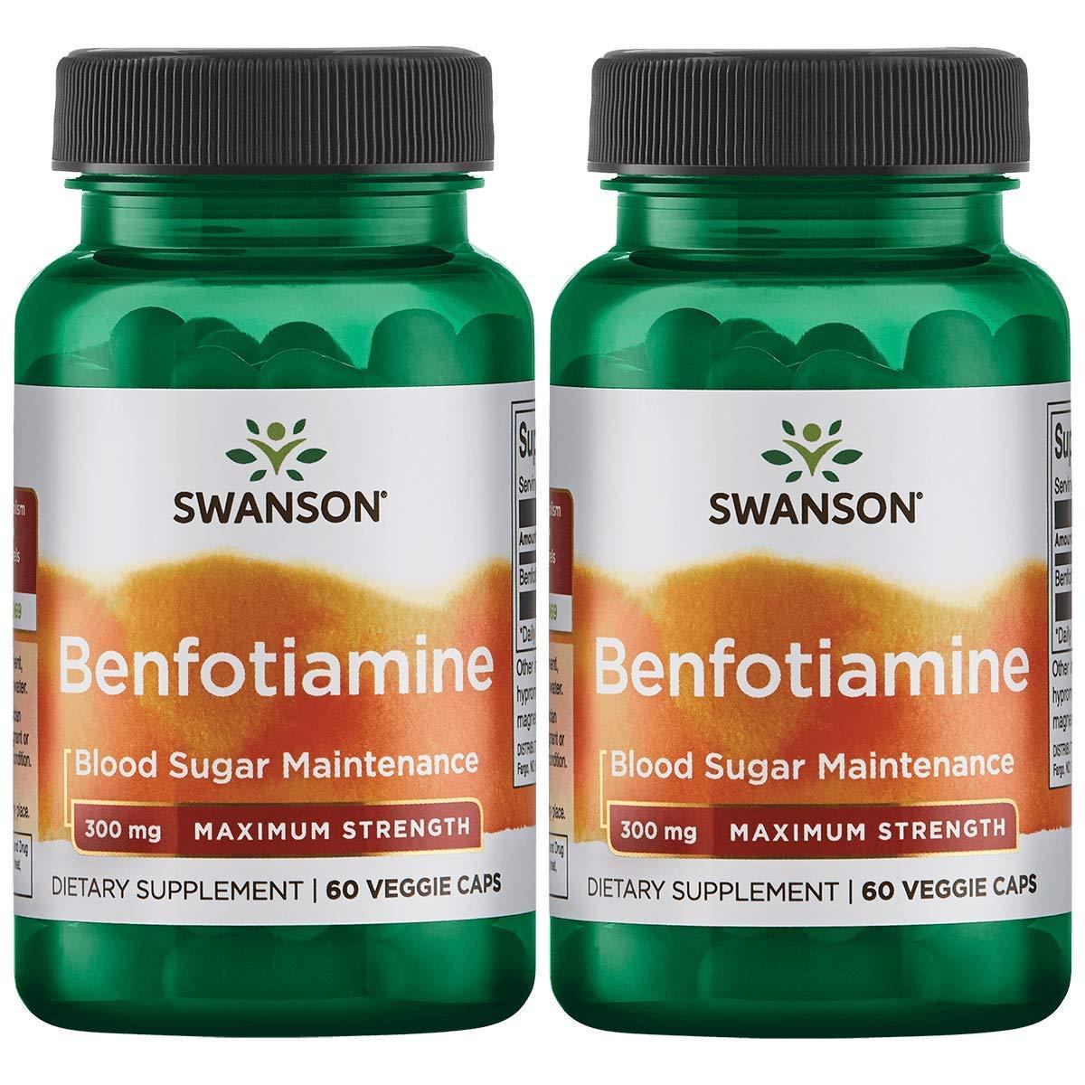Swanson Benfotiamine - Maximum Strength 300 mg 60 Veg Caps 2 Pack by Swanson