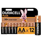 Duracell Plus AA Alkaline Batteries, 1.5 V, LR06 MX1500, Pack of 12