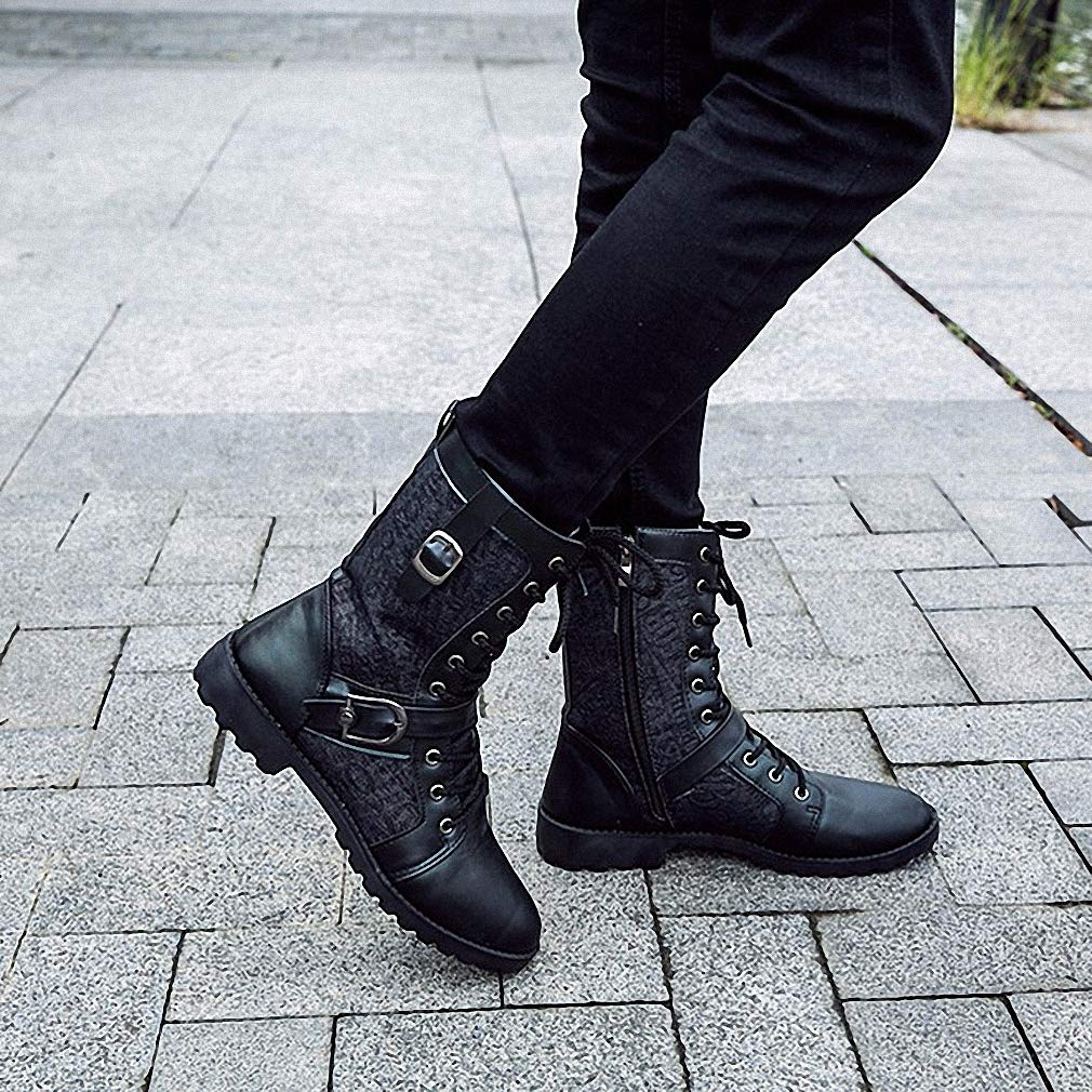 Tebapi Mens Backpacking Boots Autumn Punk Martin Boots Men Fashion Pu Leather Lace-up Motorcycle Boots Black Vintage High Top Buckle Shoes Man Xmx516