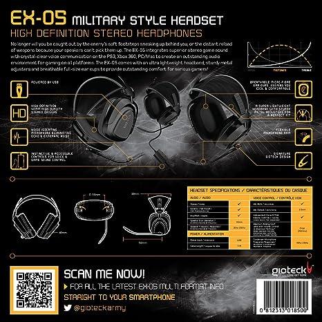 Gioteck EX-05 - Auriculares de diadema cerrados (con micrófono, reducción de ruido, USB), negro: Amazon.es: Informática