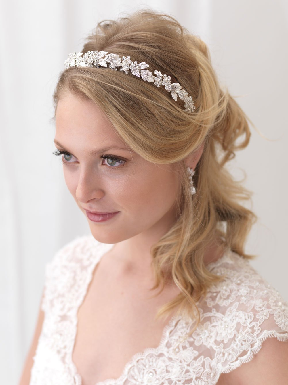USABride Floral Headband Rhinestone Flower Bridal Headpiece Silver Plated with Rhinestones TI-3300 by USABride (Image #1)