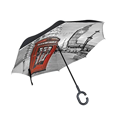 ALAZA London Street Big Ben Red Telephone House Inverted Umbrella, Large Double Layer Outdoor Rain Sun Car Reversible Umbrella