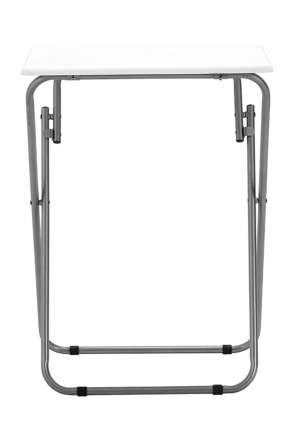 Premier Housewares Folding Table with Silver Frame, 48 x 38 x 66 cm - White 2402566 2402566_White