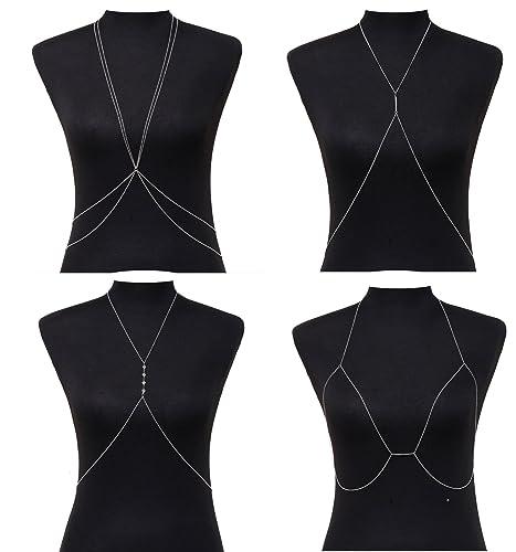 e7018dccb4 Amazon.com  MOLOCH Sexy Crossover Body Belly Bra Chains Necklace Jewelry  for Women Harness Body Chain Necklace Set Bikini Beach Body Jewelry 4PC  (Silver)  ...