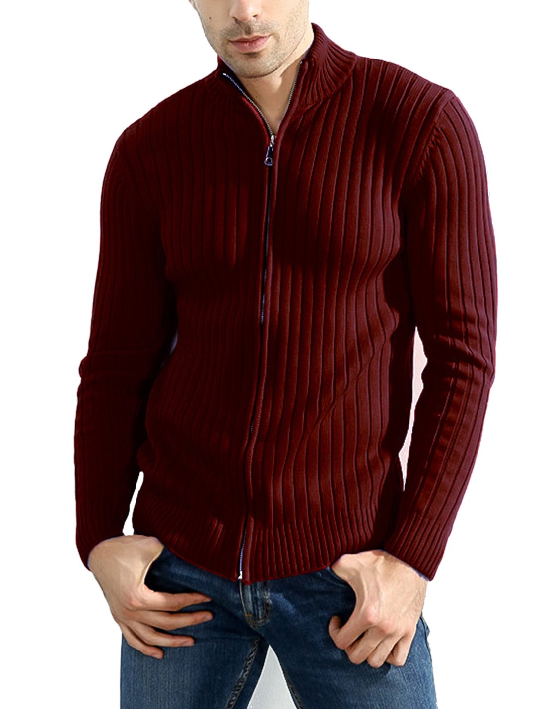 Lentta Men's Long Sleeve Stand Collar Full Zip up Solid Cotton Cardigan Sweater (X-Small, Wine Red)