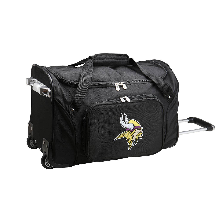 NFL Minnesota Vikings Wheeled Duffle Bag, 22 x 12 x 5.5, Black by Denco