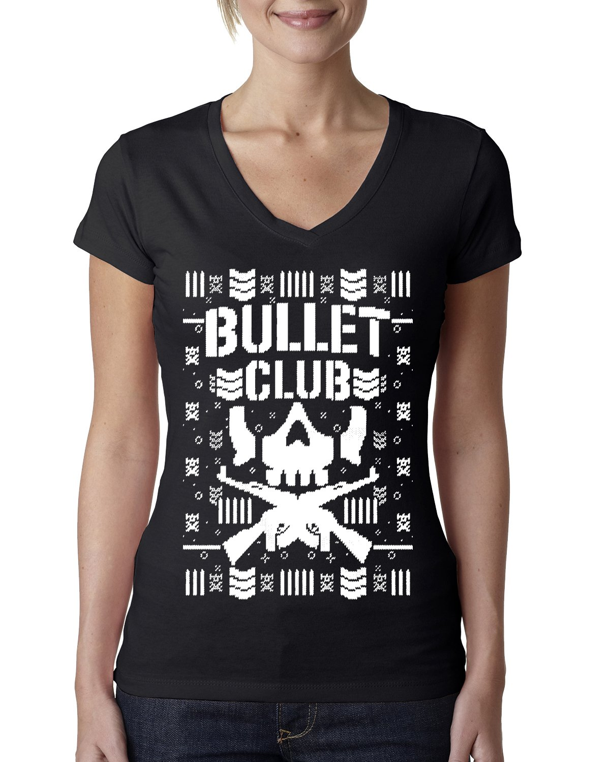 Wild Bobby Bullet Club | Wrestling Bone Soldier | Womens Ugly Christmas Junior Fit V-Neck Tee Graphic T-Shirt, Black, Small