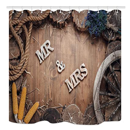 KOTOM Rustic Wood Wallpaper Shower Curtain Wedding Words Mr And Mrs In Frame Of Stumps