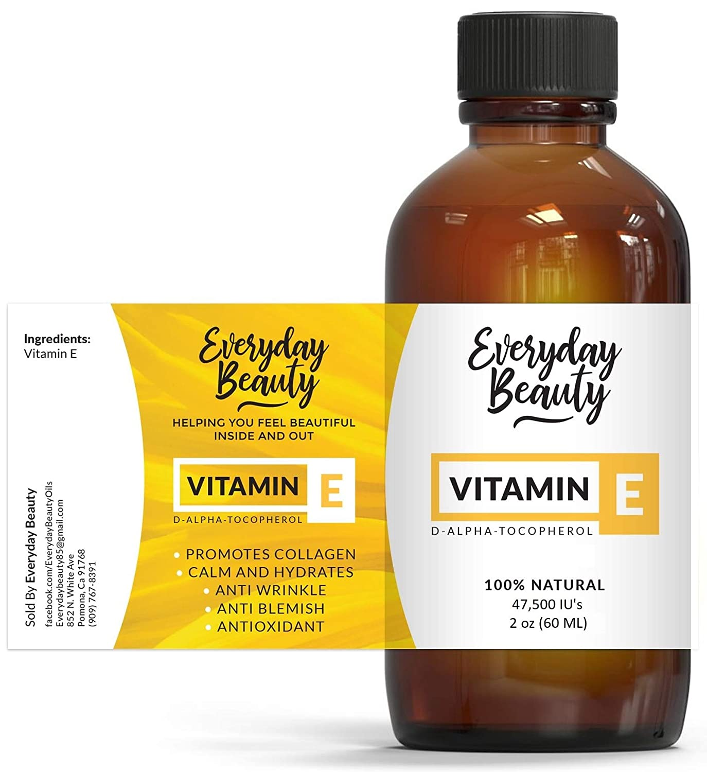 Vitamin E Oil - 100% Pure & Natural 2oz 47,500 IU - Unscented, Not a Blend, Derived From Wheat Germ - Reduce Wrinkles, Anti Aging, Lighten Dark Spots and After Surgery Scars