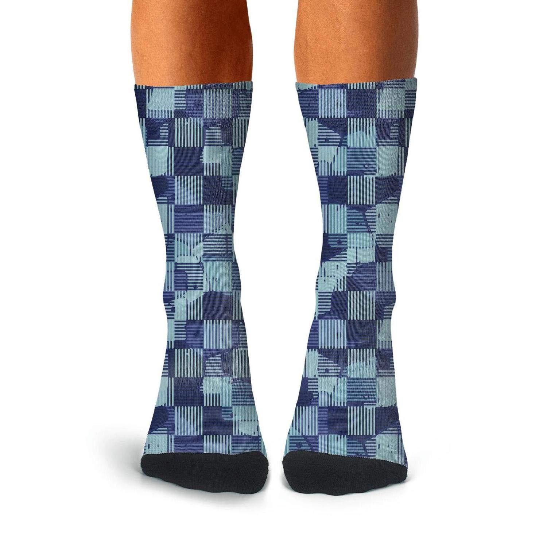 Landsr Mens geometric pattern design checkerboard Print Casual Athletic Classic Dress Crew Socks