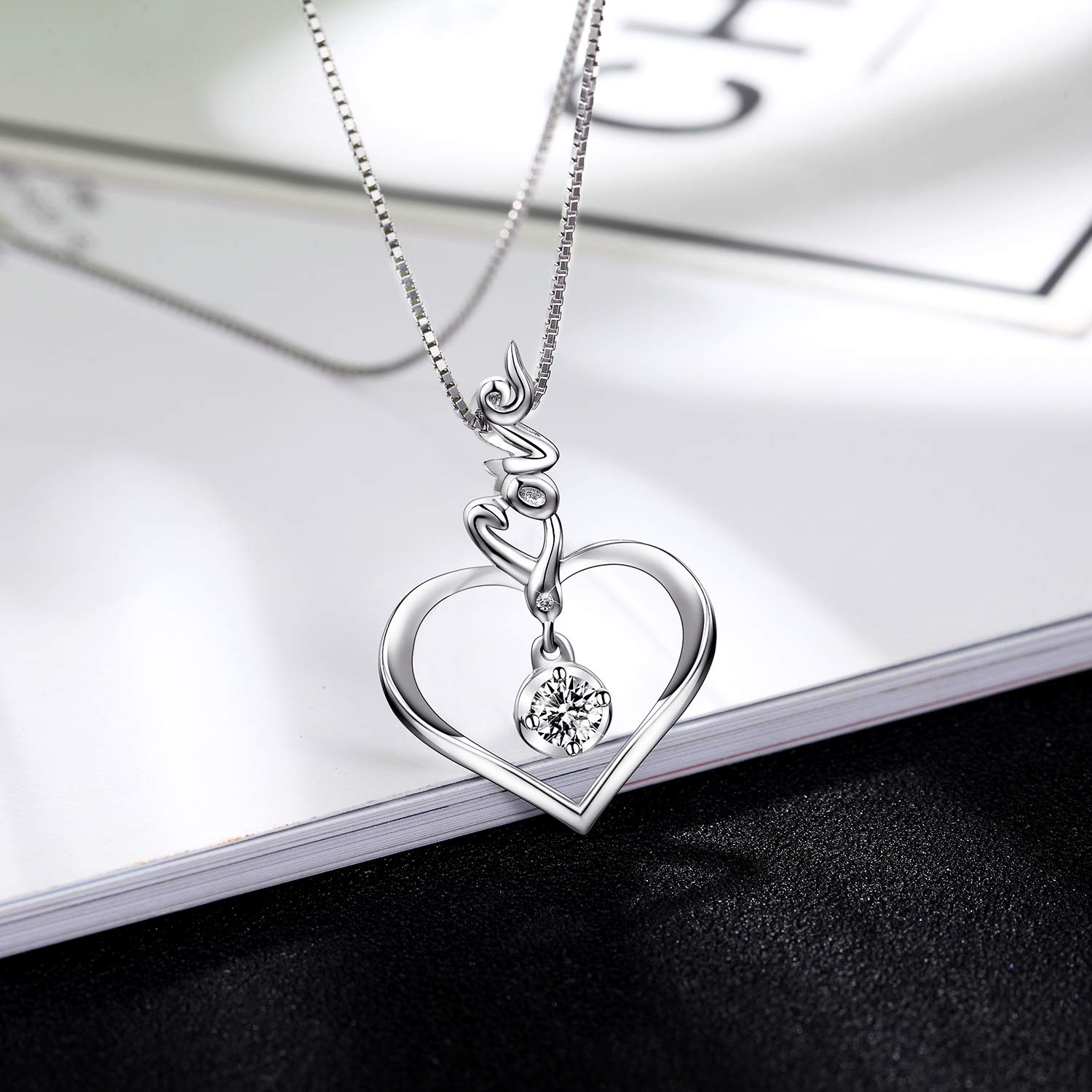 BLOVIN 925 Sterling Silver Engraved Love Heart Pendant Necklace Jewelry Gifts for Women Girls Mom Girlfriend Wife