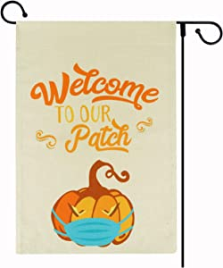FaCraft Welcome to Our Pumpkin Patch Fall Small Garden Flag 12.5 x 18 Inch Vertical Double Sided Farmhouse Autumn Pumpkin with Face Mask Burlap Yard Sign for Halloween Yard Outdoor Decorations