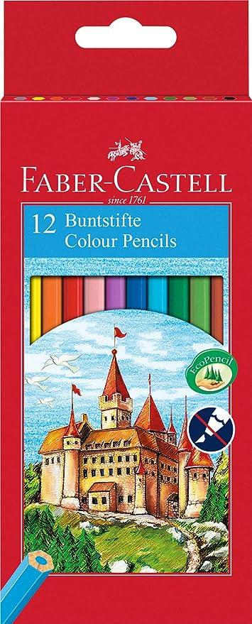 Faber Castell 120112 - Estuche cartón con 12 lápices hexagonales multicolor, lápices escolares de colores: Amazon.es: Oficina y papelería