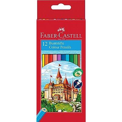 Faber Castell 120112 - Estuche cartón con 12 lápices hexagonales multicolor, lápices escolares de colores