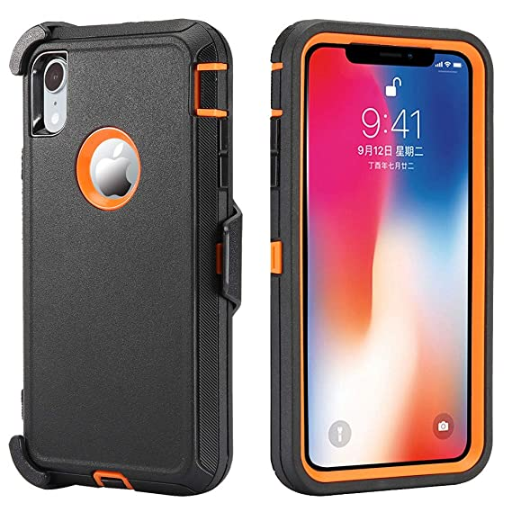 best sneakers 47171 242d3 iPhone XR Case, [Heavy Duty Protection] [with Kickstand] 4 in 1 Rugged  Shockproof Cover Holster Case Full Body Protective Case Cover Compatible  for ...