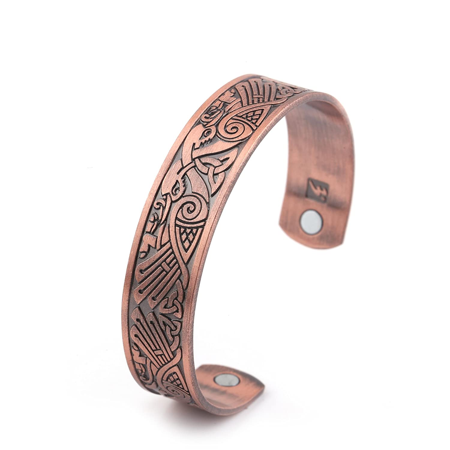 Health Care Magnetic Bracelet Viking Raven Cuff Bangle Irish Knotwork Birds Talisman Pagan Jewelry Qiju