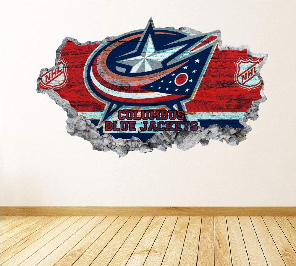 Hockey Columbus Team Wall Decals Art 3D Smashed Custom Fan Blue Jackets Wall Decor Bedroom Garage Removable Vinyl Wall Stickers Gift WL20