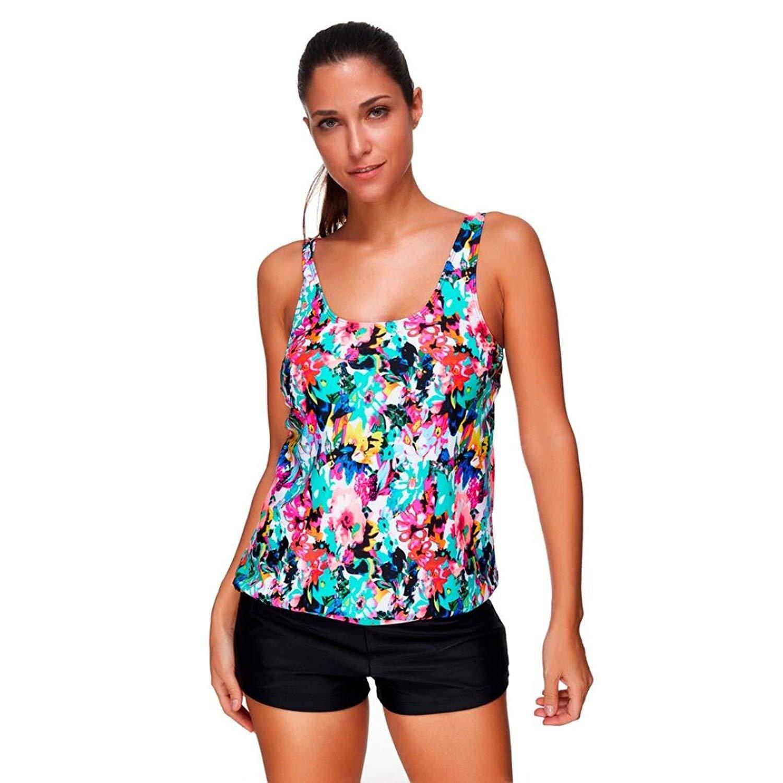 Deloito Two Piece Swimsuits, Women Tankini Sets with Boy Shorts Ladies Swimwear 02
