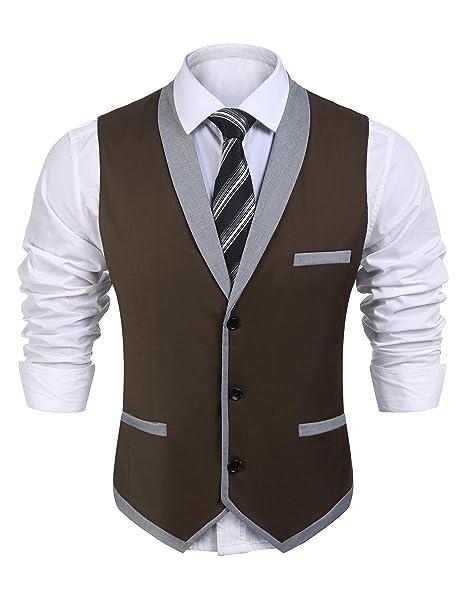 Wixens Hombre Chaleco Slim Fit Traje de Vestir Sin Manga Casual V-Neck  Blazers  Amazon.es  Ropa y accesorios 9d9e2bfe188f