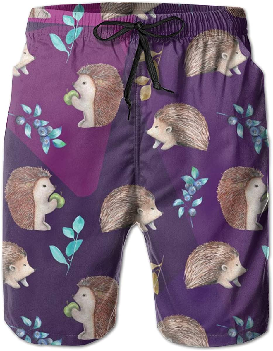 Yt92Pl@00 Mens 100/% Polyester Animal Hedgehog Athletic Swim Trunks 3D Printed Board Shorts with Pockets