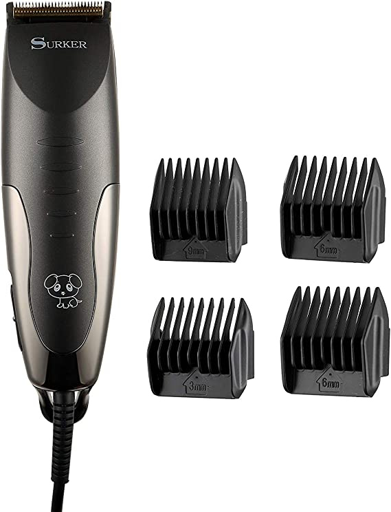 Surker Pets Hair Trimmer with 4 Replaceable Combs (Black) Dog Grooming Clippers & Blades at amazon