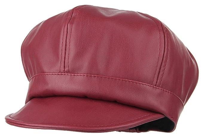 b2ca5b31decbb Gemvie Girls PU Leather 6 Panel Newsboy Baker Boy Cap Peaked Beret Hat Red