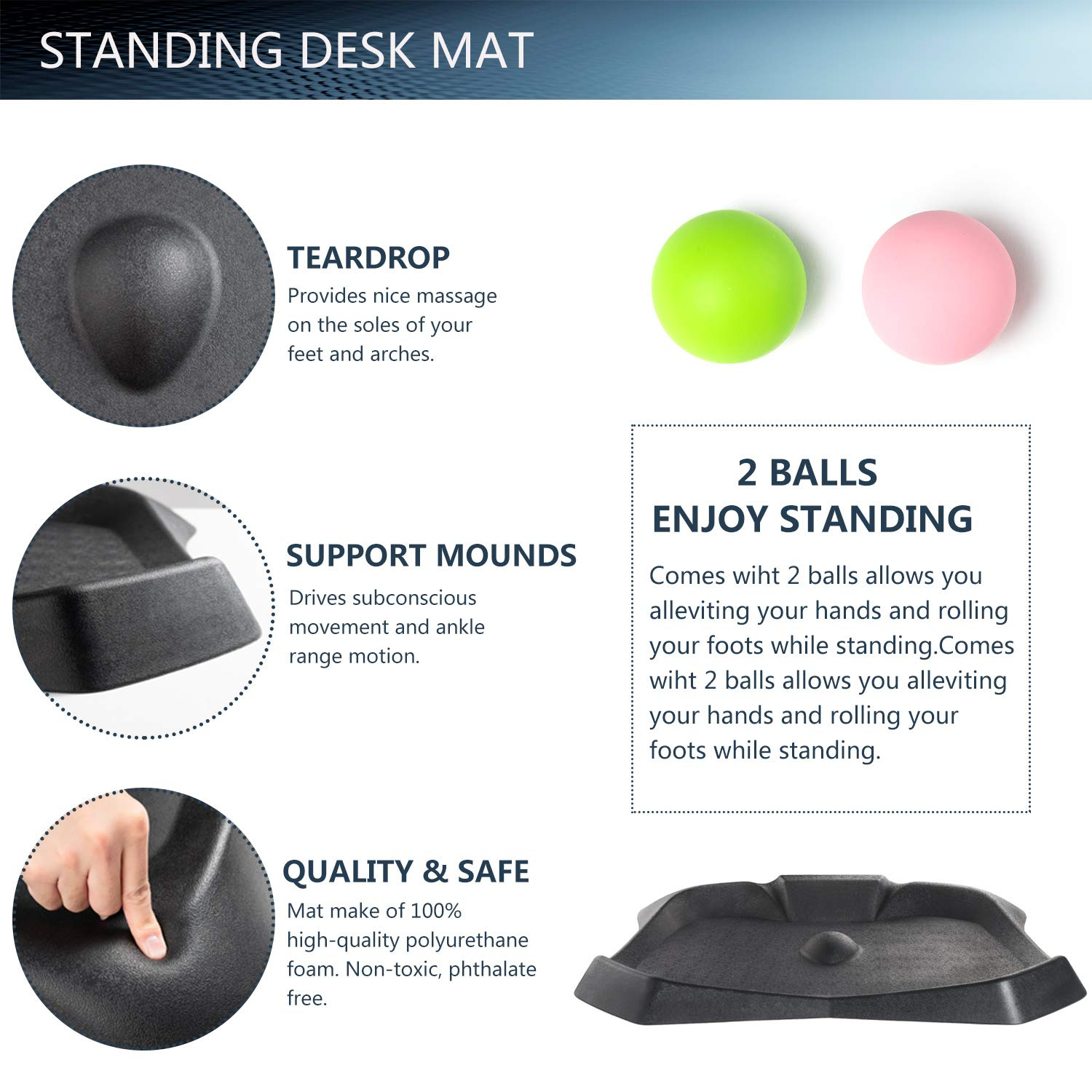 EleTab Anti-Fatigue Standing Desk Mat - Original Premium Extra Thick Ergonomic Comfort Floor Mats with Varied Terrain Acupressure Massage Perfect for Home, Work, Office, Stand Up Desk by EleTab (Image #5)