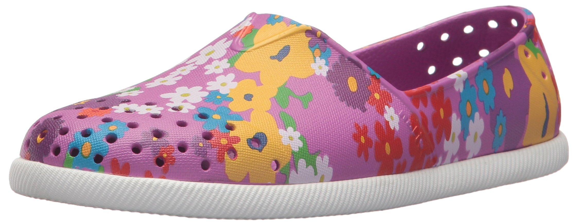 Native Kids' Verona Print Junior Water Shoe, Peace Purple/Daisy Chain, 1 Medium US Little Kid