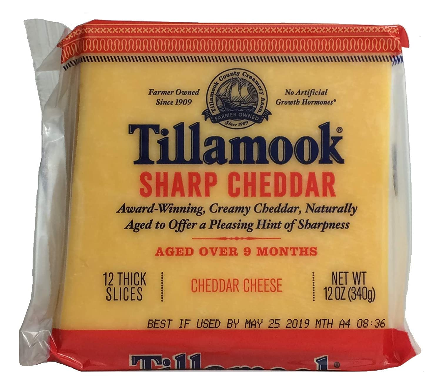 Tillamook Sharp Cheddar Cheese 12 Thick Slices, 12 OZ (Pack of 2