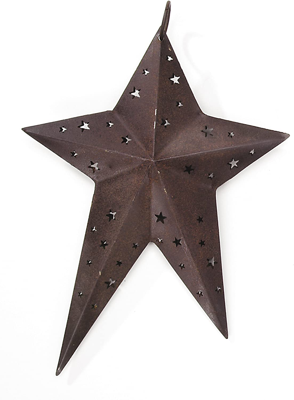 "3D RUSTIC 6/"" BARN STAR HANGING ORNAMENT w// STAR CUTOUTS for PRIMITIVE DECOR TREE"