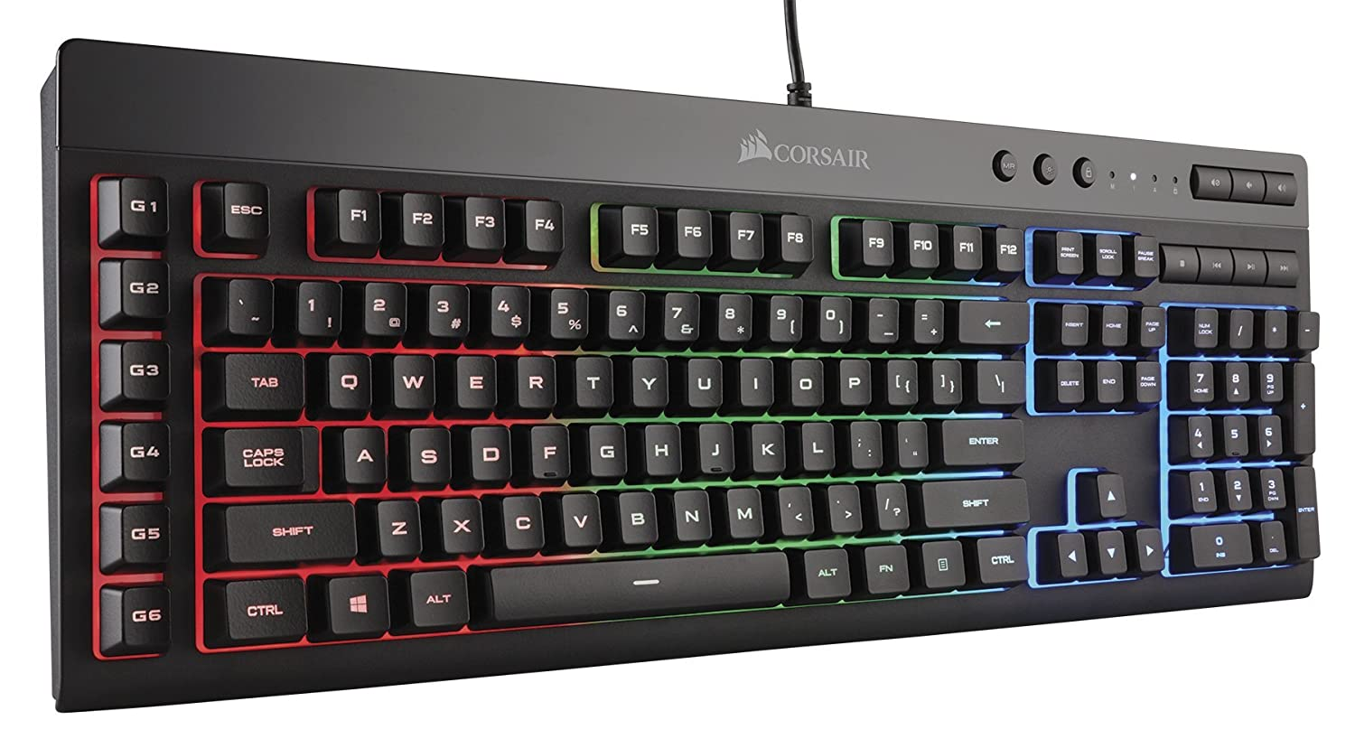 CORSAIR K55 RGB Gaming Keyboard - Quiet & Satisfying LED Backlit Keys - Media Controls - Wrist Rest Included � Onboard Macro Recording