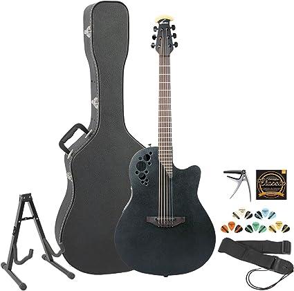 Ovation Elite 1778tx-5 negro guitarra electroacústica guitarra w ...