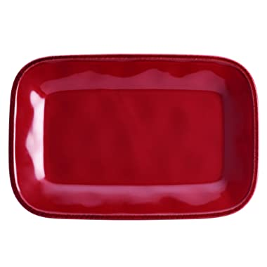 Rachael Ray Cucina Dinnerware 8-Inch x 12-Inch Stoneware Rectangular Platter, Cranberry Red