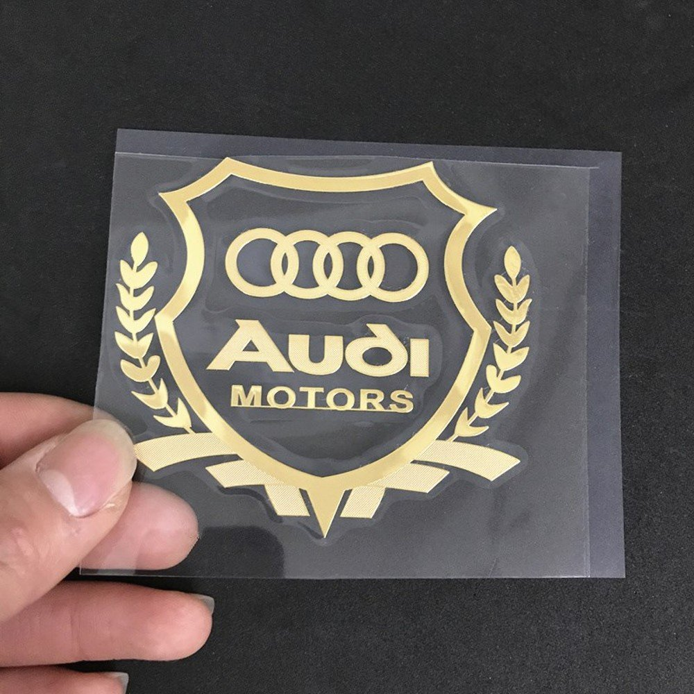 Amazon com wallner gold car sticker logo decal stickers windows decals for audi 2 36inch x2 17inch gold automotive