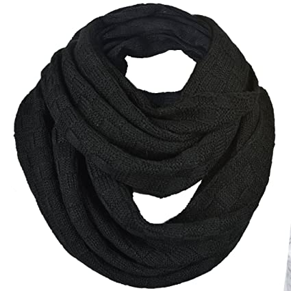 Forbusite Men Plaid Pattern Knit Winter Infinity Scarf E5031b Black