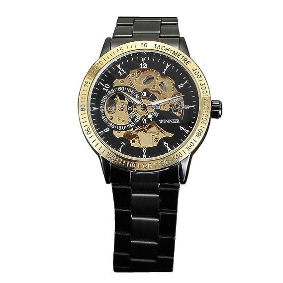 Winner Hombres del mecánico automático esqueleto negro banda de acero inoxidable reloj de pulsera: Amazon.es: Relojes