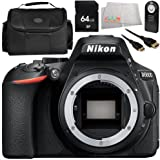 Nikon D5600 DSLR Camera (Body Only) 9PC Accessory Bundle – Includes 64GB SD Memory Card + Carrying Case + Wireless Remote + More