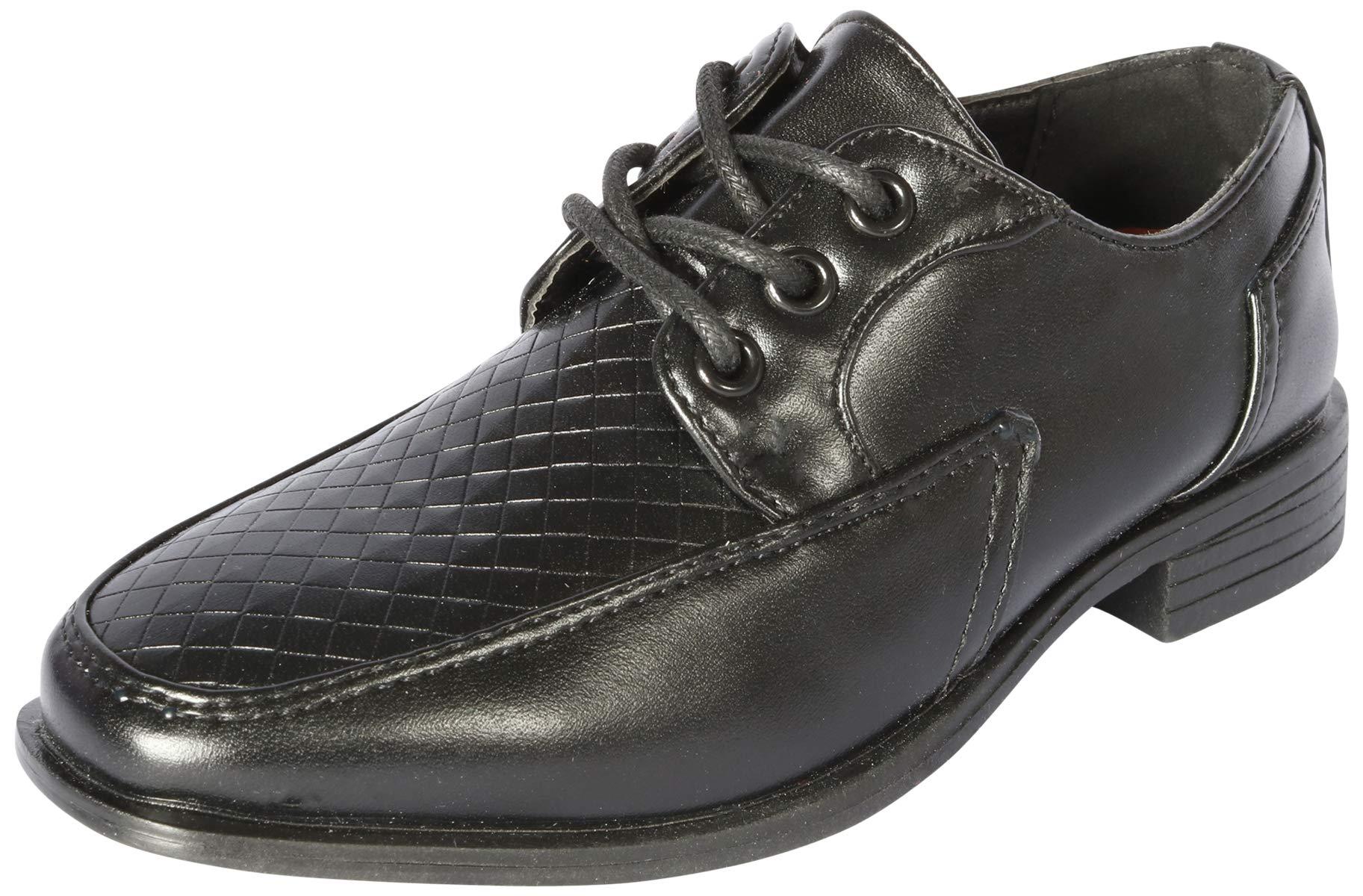 Jodano Collection Boys Memory Foam Lace up Dress Shoe, Black, 8 M US Big Kid'