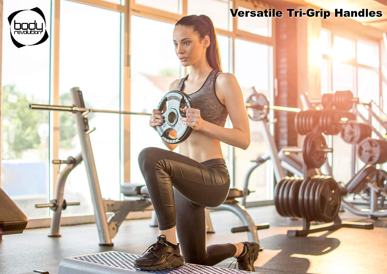 radial Trois poign/ées Body Revolution Disques de poids olympiques en fonte avec rev/êtement en caoutchouc