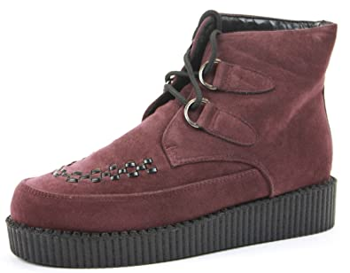 69f60536f0bba Womens Brothel Creepers Lace Up Beetle Crusher Style Low Wedge Boots Flat Heel  Platform Goth Punk Shoes Size: Amazon.co.uk: Shoes & Bags