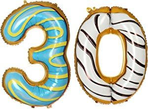 40 Inch Donuts Number 30 Balloons Foil Jumbo Balloons for 30th Birthday Party Decoration (Number 30)